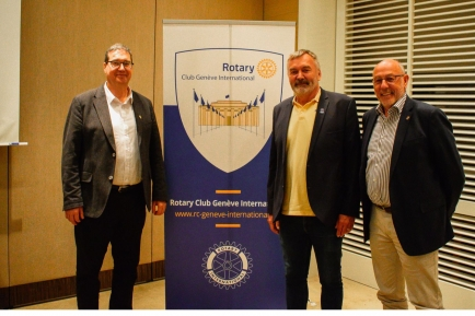 The District Governor and Assistant District Governor pictured with our President.