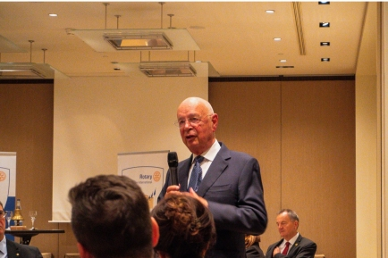 Professor Klaus Schwab, Founder and Executive Chairman of the World Economic Forum (WEF) to our Club's meeting last night.